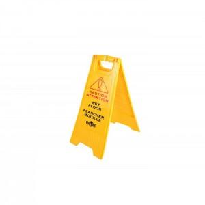 Panneau de sécurité bilingue «Attention plancher glissant»