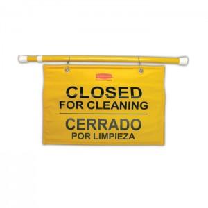 Panneau à suspendre bilingue «Fermé pour le nettoyage»