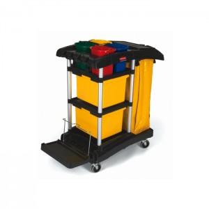 Chariot de ménage avec bacs de rangement de couleur