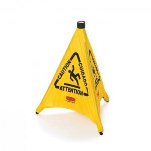 Grand cône parapluie pop up trilingue «Attention»