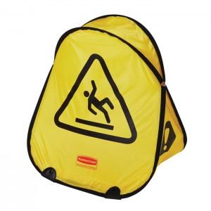 Cône de sécurité avec symbole «Attention plancher glissant»