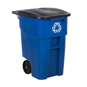 Bac roulant pour recyclage Brute bleu 50gal