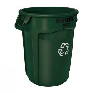 Poubelle ronde pour recyclage Brute verte 32gal